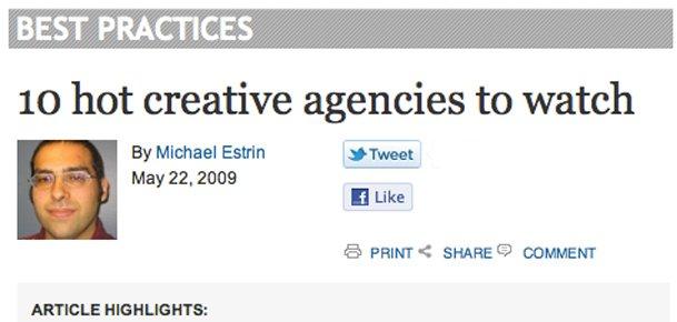 "iMedia Names BKW Forerunner Rassak One of ""10 Hot Creative Agencies to Watch"""
