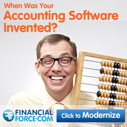 "Man with an Abacus and caption: ""When was your Accounting Software invented?"""