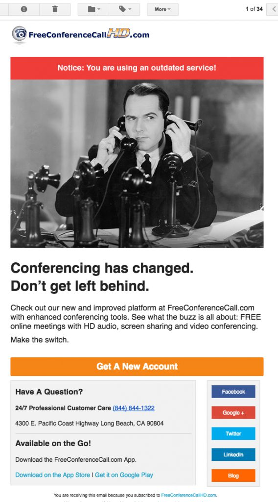 Problematic Email from FreeConferenceCallHD.com